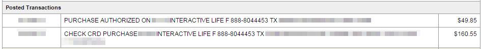 Fleshlight order credit card statement.