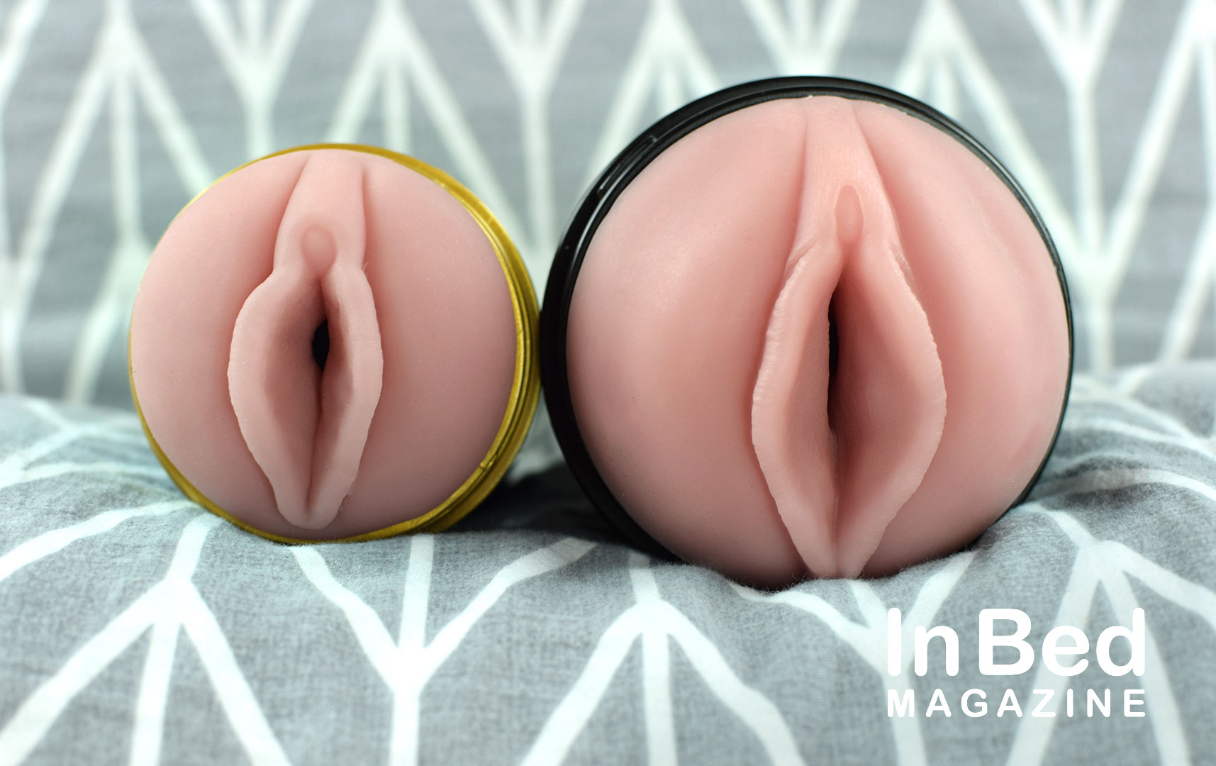 Fleshlight Lady Lager Six in a Can entry next to a full-size Mini Lotus Fleshlight entry
