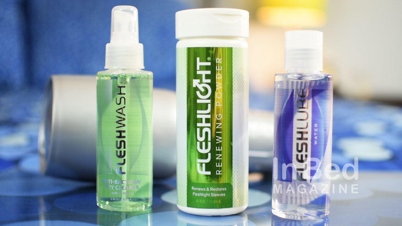 Fleshlight Fleshwash antibacterial cleanser, Renewing Power, and Fleshlube