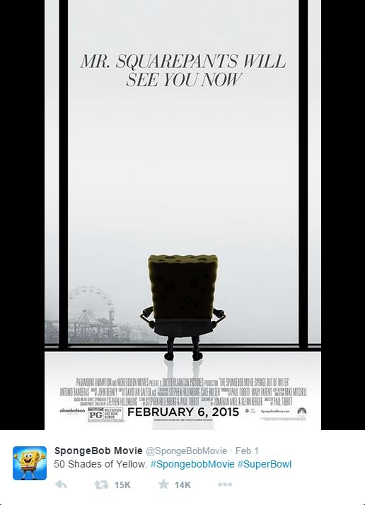 SpongeBob Square Pants parody of 50 Shades of Grey movie poster.